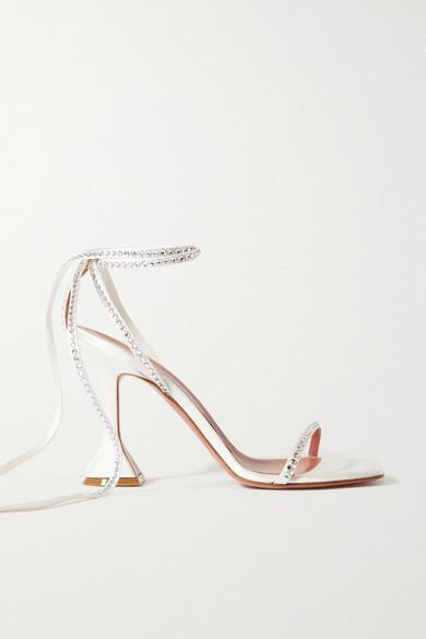 Thumbnail for your product : Amina Muaddi Vita Crystal-embellished Satin Sandals - Ivory