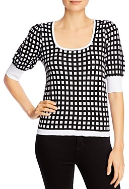 Design History Checkered Short-Sleeve Sweater