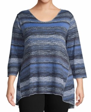John Paul Richard Plus Size Metallic Striped Tunic