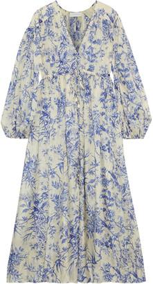 Zimmermann Verity Gathered Printed Silk Crepe De Chine Midi Dress