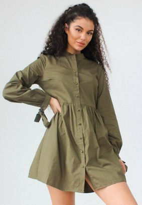 Missguided Khaki Tie Cuff Smock Shirt Dress