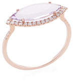 Meira T 14K Rose Gold, Amethyst & 0.18 Total Ct. Diamond Marquis Ring