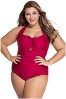Dilameng Women Plus Size Sports Swimsuits Retro Floral Halter Top Drawstring Bathing Suits (XL, )