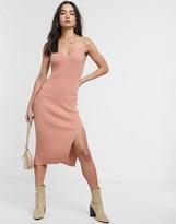 Asos Design DESIGN v neck cami dress in slinky knit