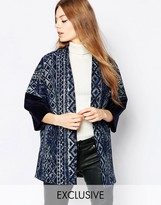 Helene Berman Embroidered Denim Kimono Coat with Contrast Cuff