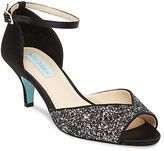 Betsey Johnson Rita Glittered Kitten Heel Pumps