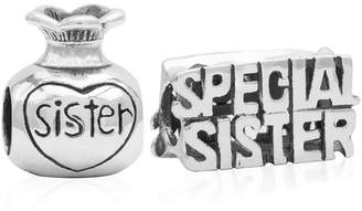 Children Special Sister Bead Charms - Set of 2 in Sterling Silver