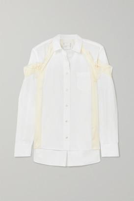 Sacai Ruffled Satin-paneled Poplin Shirt - White