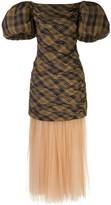 KHAITE Puffed Sleeves Checked Pattern Dress