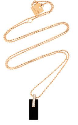 ginette_ny Mini 18K Rose Gold, Onyx and Diamond Necklace