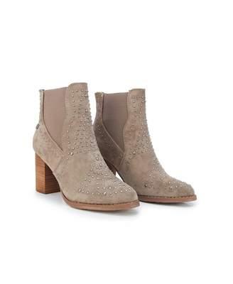 Xti Stud Detail Block Heel Ankle Boots Colour: GREY, Size: UK 3