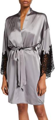 Christine Lingerie Diva Lace-Trim Silk Robe