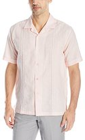 Cubavera Men's Short Sleeve Embroidery Panel Woven Shirt with Camp Collar
