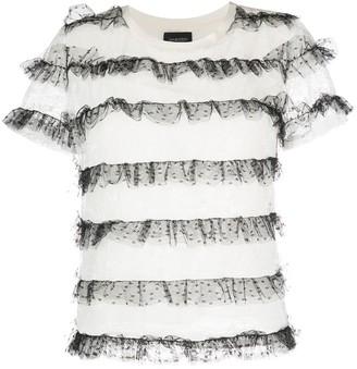Giambattista Valli tulle-embellished silk T-shirt