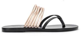 Ancient Greek Sandals Kilini Black And Platinum Metal Leather Slipper