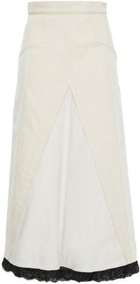 Alexander McQueen Lace-trimmed Paneled Denim Midi Skirt