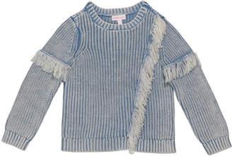 Design History Girls Girl's Denim Colored Fringe Sweater, Size 2-6X