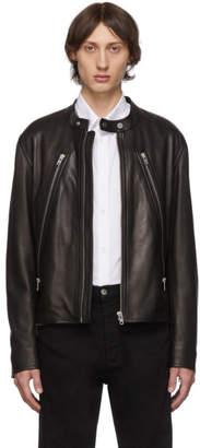 Maison Margiela Black Leather 5-Zip Sports Jacket