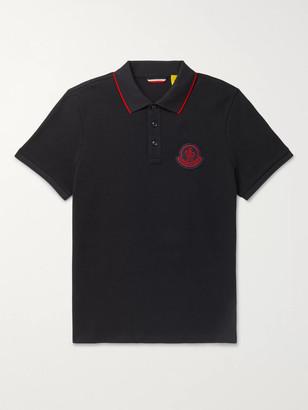 MONCLER GENIUS Slim-Fit Contrast-Tipped Logo-Appliqued Cotton-Pique Polo Shirt