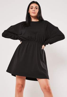 Missguided Plus Size Black Ruched Sweater Dress