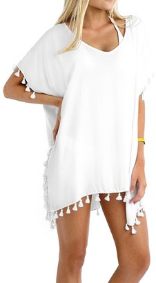 Taydey Womens Summer Sexy Vibrant Color Chiffon Bathing Suit Cover Up White
