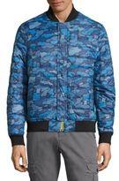 Michael Bastian Camo Print Long-Sleeve Puffer Jacket