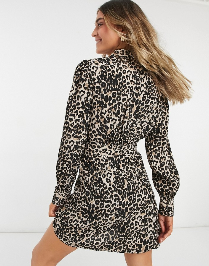 Thumbnail for your product : Pimkie tie front leopard print shirt dress in brown