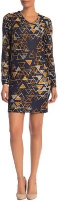 Papillon Triangle Print V-Neck Sheath Dress