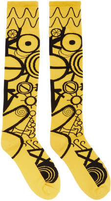 Charles Jeffrey Loverboy Yellow and Black Gender Identity Socks