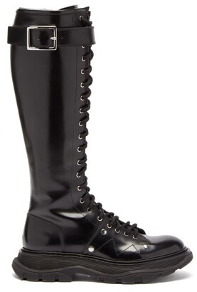 Alexander McQueen Tread Exaggerated-sole Leather Knee-high Boots - Black