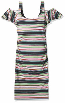 Nicole Miller Women's Festival Stripes Cold Shoulder Dress