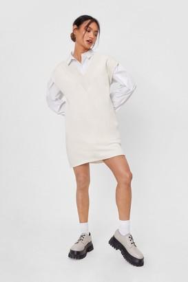 Nasty Gal Womens V Back Soon Petite Knitted Mini Dress - Cream