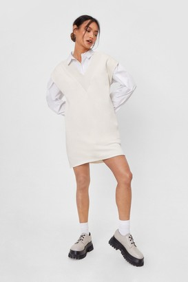 Nasty Gal Womens V Back Soon Petite Knitted Mini Dress - White - 6