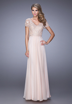 La Femme 21632 Short Sleeved Lace Evening Gown