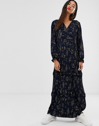 Only pleated maxi dress in floral print-Navy