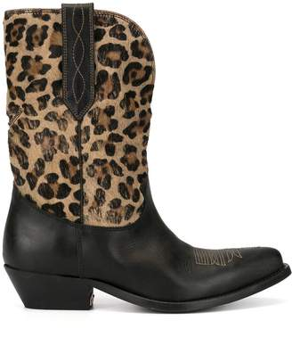 Golden Goose leopard-print Wish Star boots