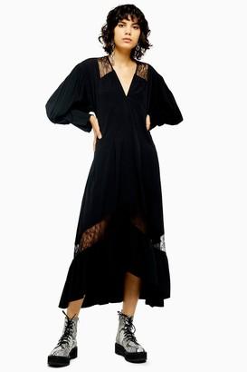 Topshop Womens Black Lace Trim Smock Dress - Black