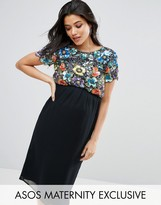 Asos Multi Embellished Bodice Midi Dress