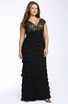 Adrianna Papell Plus Size Women's Lace & Shutter Pleat Gown