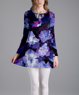 Lily Purple Floral Tie-Neck Long-Sleeve Tunic - Plus Too