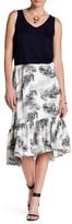 Bobeau Leaf Print Flounce Skirt