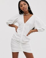 Asos Design DESIGN ruched mini dress with puff sleeves