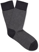 John Smedley Hera Striped Cotton-blend Socks
