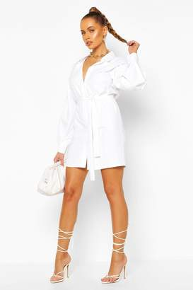 boohoo Puff Sleeve Belted Shirt Dress