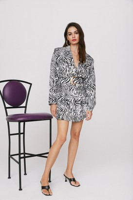 Nasty Gal Womens Wild Streak Zebra Blazer Dress - Black - 12