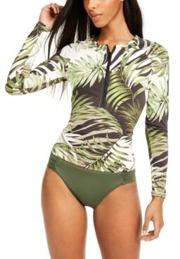 Bar III Jungle Moon Printed Rashguard, Created for Macy's Women's Swimsuit