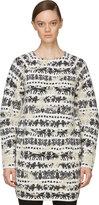 Alexander McQueen Black & White Distressed Motif Sweater Dress