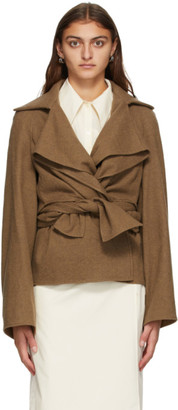 Lemaire Brown Wool Knotted Jacket