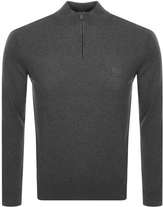 Boss Business BOSS HUGO BOSS Padro Half Zip Knit Jumper Grey