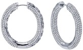 Lafonn Platinum Plated Sterling Silver Micro Pave Inside-Out Hoop Earrings